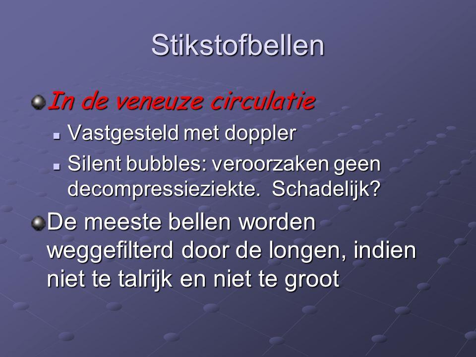 Stikstofbellen In de veneuze circulatie Vastgesteld met doppler Vastgesteld met doppler Silent bubbles: veroorzaken geen decompressieziekte.