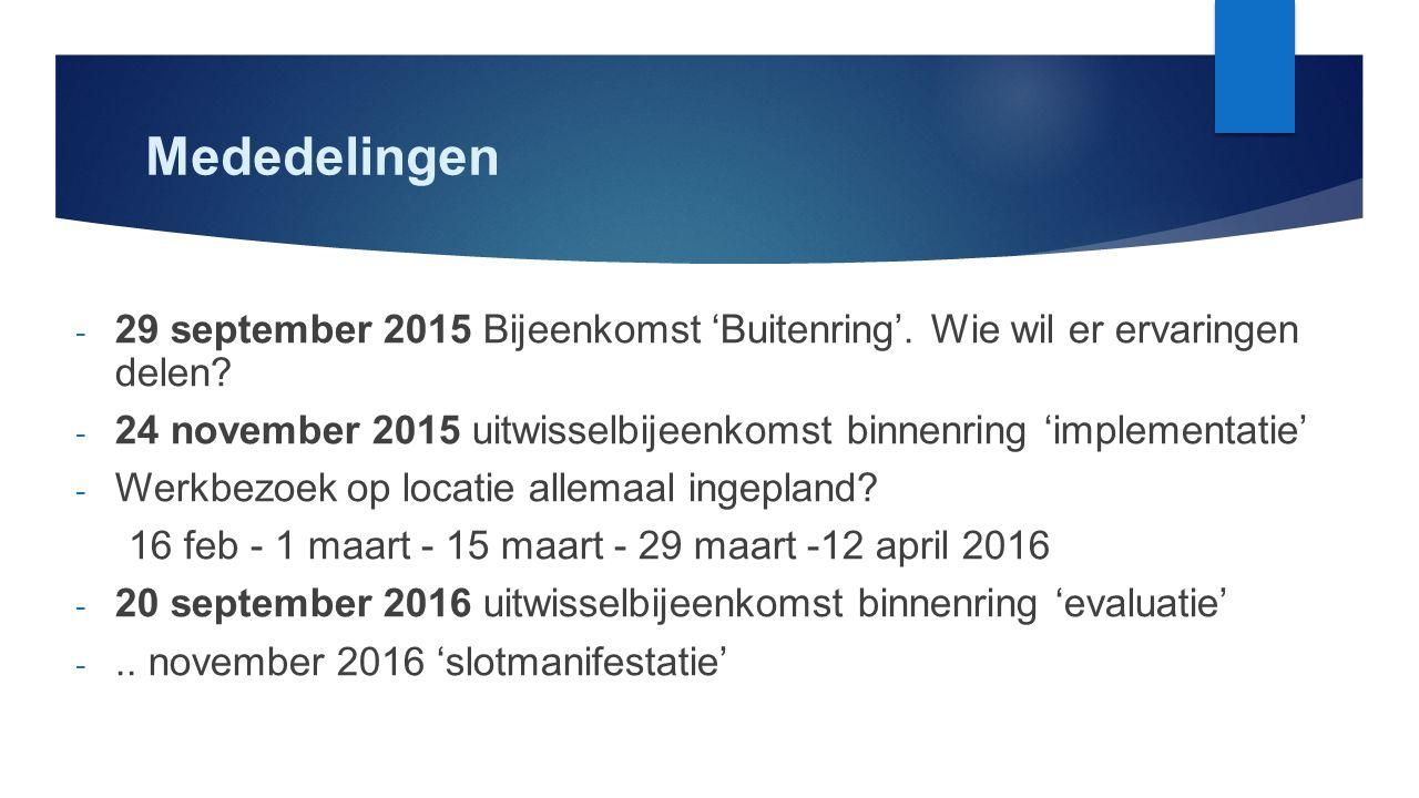 Mededelingen - 29 september 2015 Bijeenkomst 'Buitenring'. Wie wil er ervaringen delen? - 24 november 2015 uitwisselbijeenkomst binnenring 'implementa