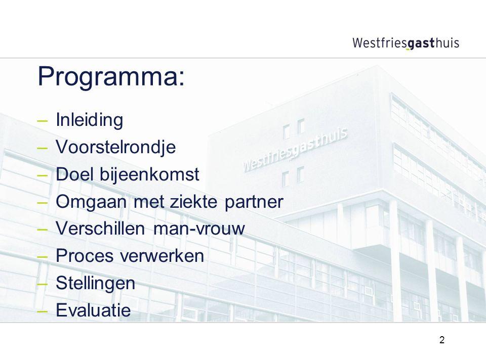 2 Programma: –Inleiding –Voorstelrondje –Doel bijeenkomst –Omgaan met ziekte partner –Verschillen man-vrouw –Proces verwerken –Stellingen –Evaluatie