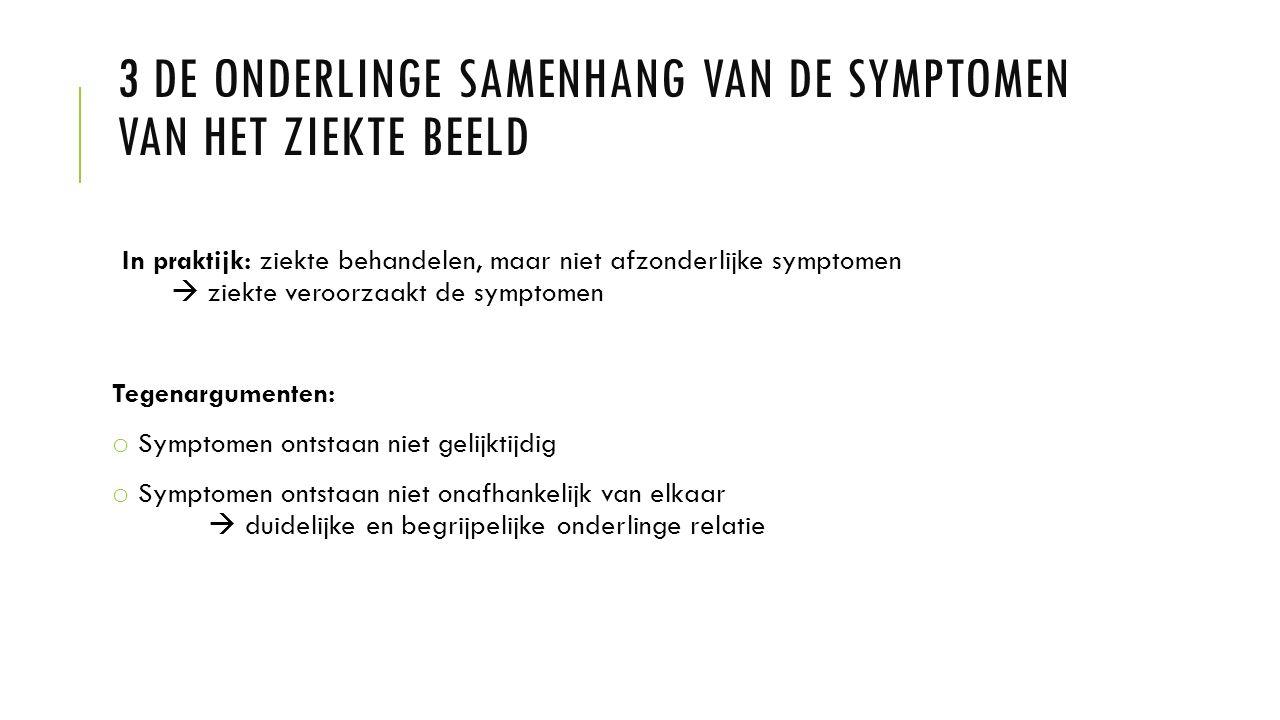3 DE ONDERLINGE SAMENHANG VAN DE SYMPTOMEN VAN HET ZIEKTE BEELD In praktijk: ziekte behandelen, maar niet afzonderlijke symptomen  ziekte veroorzaakt