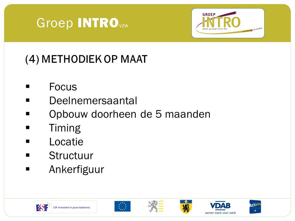 (4) METHODIEK OP MAAT  Focus  Deelnemersaantal  Opbouw doorheen de 5 maanden  Timing  Locatie  Structuur  Ankerfiguur