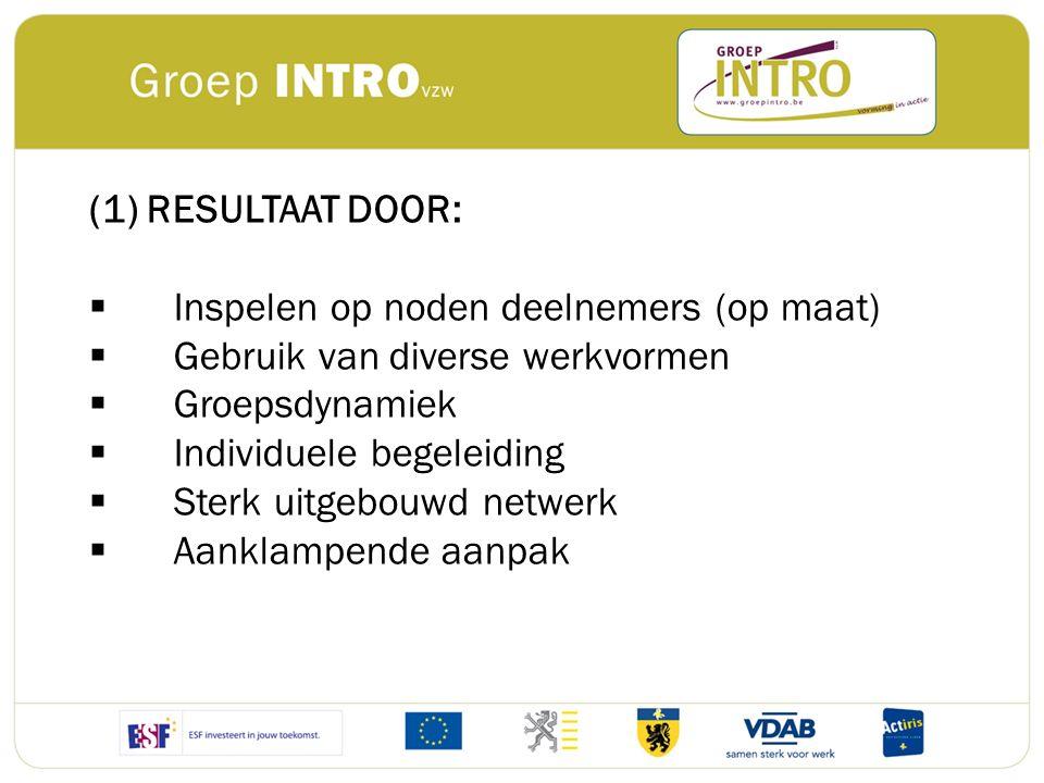 (1) RESULTAAT DOOR:  Inspelen op noden deelnemers (op maat)  Gebruik van diverse werkvormen  Groepsdynamiek  Individuele begeleiding  Sterk uitge