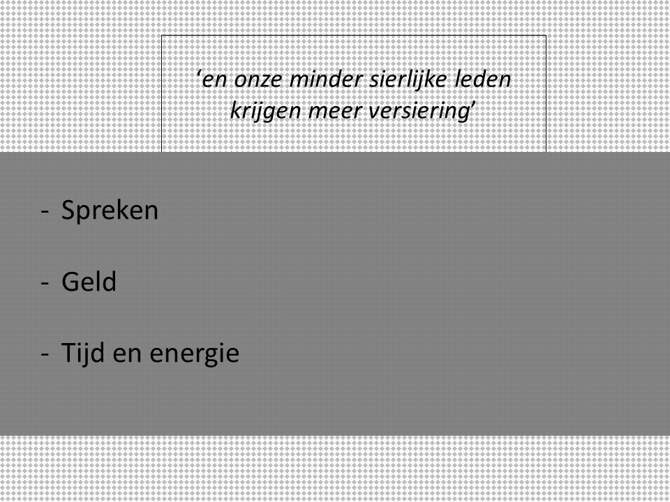 -Spreken -Geld -Tijd en energie