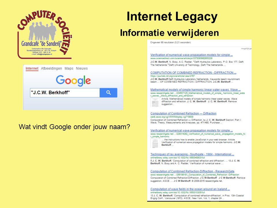 Internet Legacy Informatie verwijderen Wat vindt Google onder jouw naam?