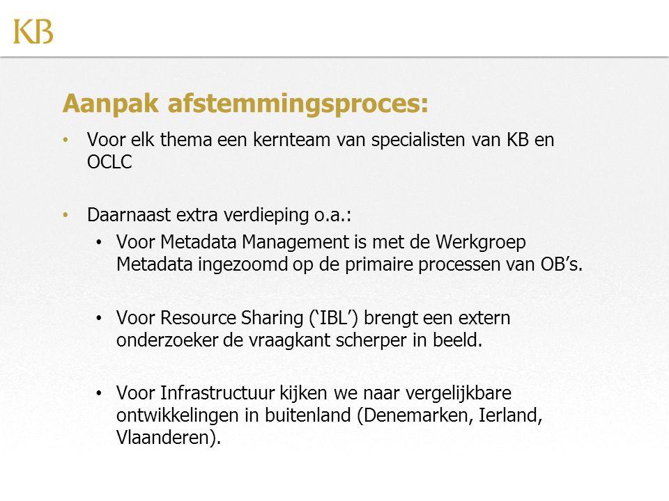 Aanpak afstemmingsproces: Voor elk thema een kernteam van specialisten van KB en OCLC Daarnaast extra verdieping o.a.: Voor Metadata Management is met de Werkgroep Metadata ingezoomd op de primaire processen van OB's.