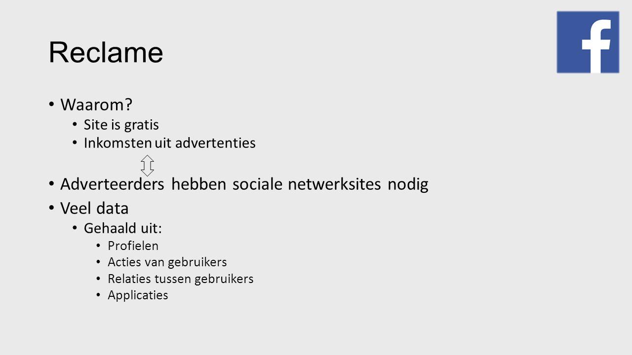 Reclame Waarom? Site is gratis Inkomsten uit advertenties Adverteerders hebben sociale netwerksites nodig Veel data Gehaald uit: Profielen Acties van