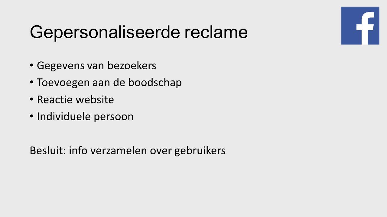 Gepersonaliseerde reclame Gegevens van bezoekers Toevoegen aan de boodschap Reactie website Individuele persoon Besluit: info verzamelen over gebruike
