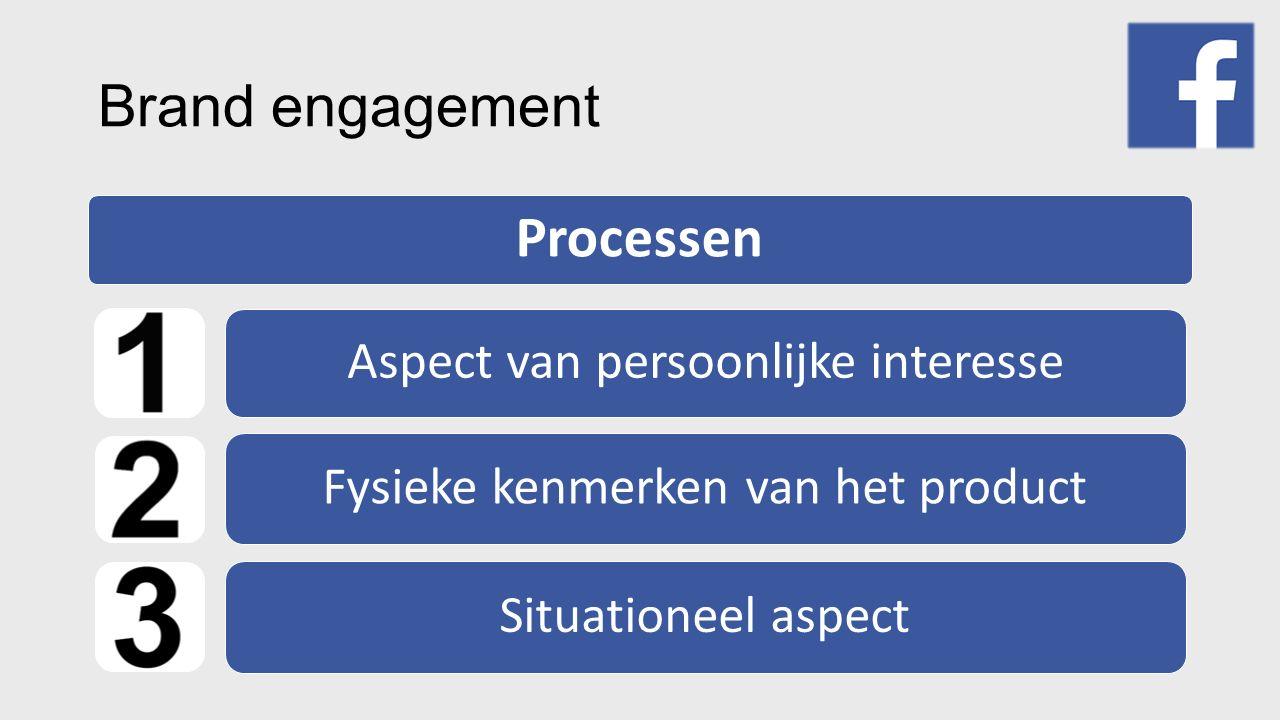 Brand engagement Processen Aspect van persoonlijke interesse Fysieke kenmerken van het productSituationeel aspect