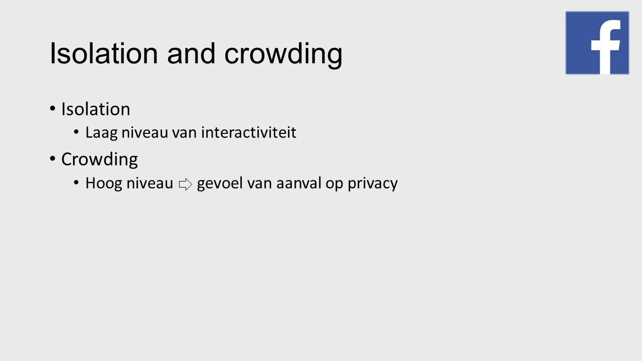 Isolation and crowding Isolation Laag niveau van interactiviteit Crowding Hoog niveau gevoel van aanval op privacy
