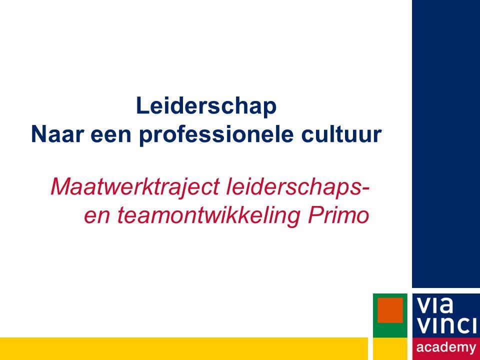 Leiderschap Naar een professionele cultuur Maatwerktraject leiderschaps- en teamontwikkeling Primo