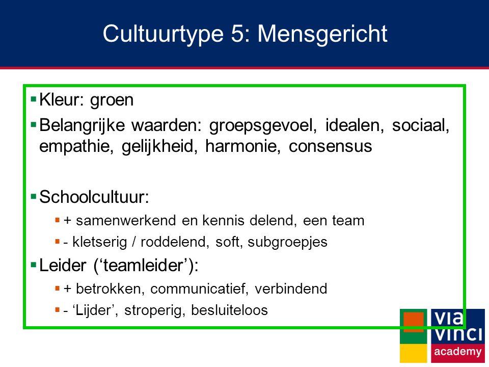 Cultuurtype 5: Mensgericht  Kleur: groen  Belangrijke waarden: groepsgevoel, idealen, sociaal, empathie, gelijkheid, harmonie, consensus  Schoolcul