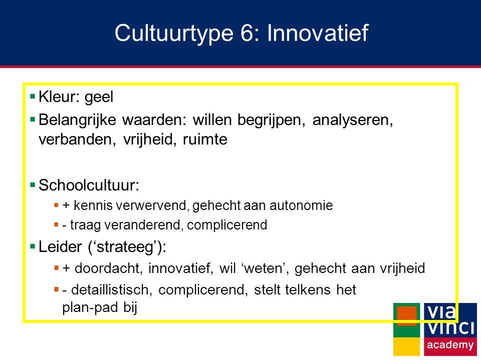 Cultuurtype 6: Innovatief  Kleur: geel  Belangrijke waarden: willen begrijpen, analyseren, verbanden, vrijheid, ruimte  Schoolcultuur:  + kennis v