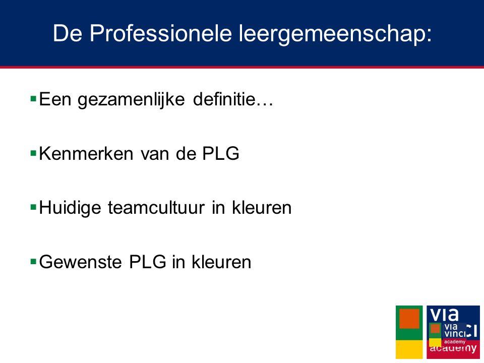 De Professionele leergemeenschap:  Een gezamenlijke definitie…  Kenmerken van de PLG  Huidige teamcultuur in kleuren  Gewenste PLG in kleuren