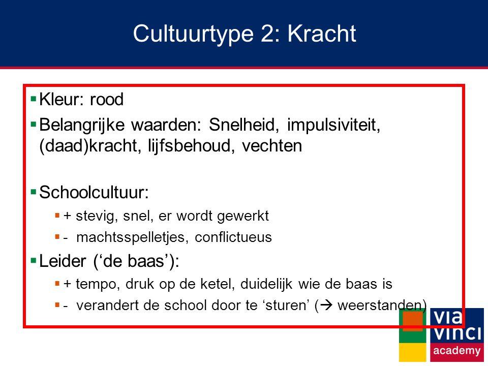 Cultuurtype 2: Kracht  Kleur: rood  Belangrijke waarden: Snelheid, impulsiviteit, (daad)kracht, lijfsbehoud, vechten  Schoolcultuur:  + stevig, sn