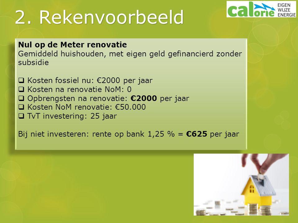 2. Rekenvoorbeeld Nul op de Meter renovatie Gemiddeld huishouden, met eigen geld gefinancierd zonder subsidie  Kosten fossiel nu: €2000 per jaar  Ko