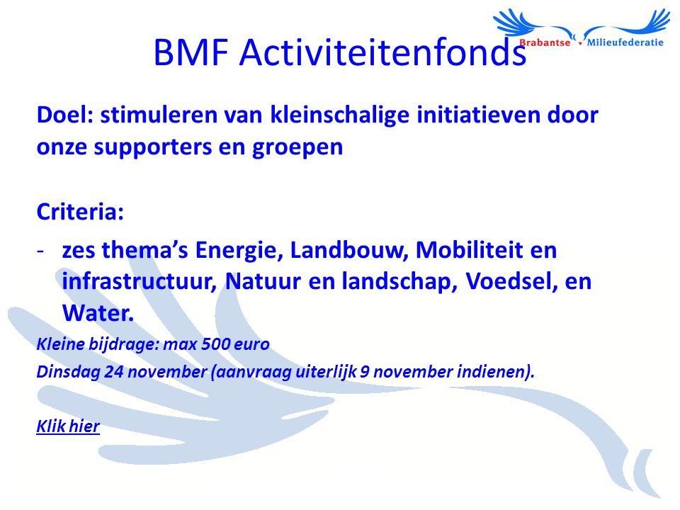 BMF Activiteitenfonds Doel: stimuleren van kleinschalige initiatieven door onze supporters en groepen Criteria: -zes thema's Energie, Landbouw, Mobili