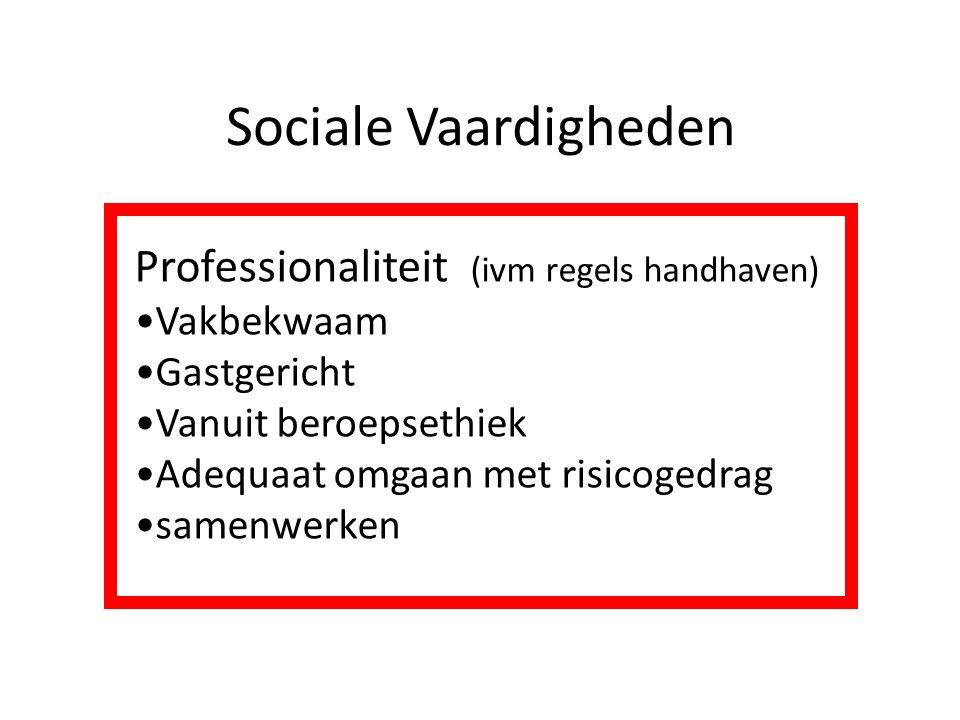 Sociale Vaardigheden Professionaliteit (ivm regels handhaven) Vakbekwaam Gastgericht Vanuit beroepsethiek Adequaat omgaan met risicogedrag samenwerken