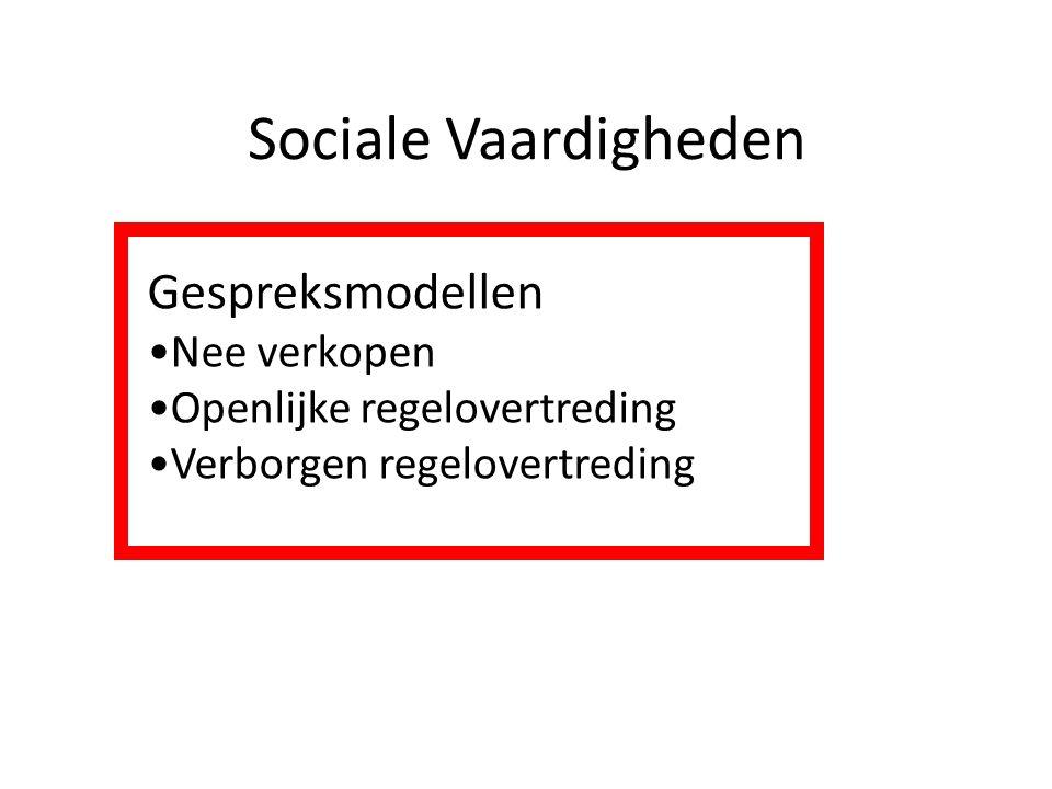 Sociale Vaardigheden Gespreksmodellen Nee verkopen Openlijke regelovertreding Verborgen regelovertreding