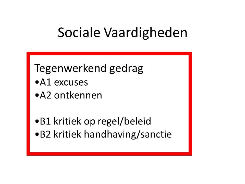 Sociale Vaardigheden Tegenwerkend gedrag A1 excuses A2 ontkennen B1 kritiek op regel/beleid B2 kritiek handhaving/sanctie