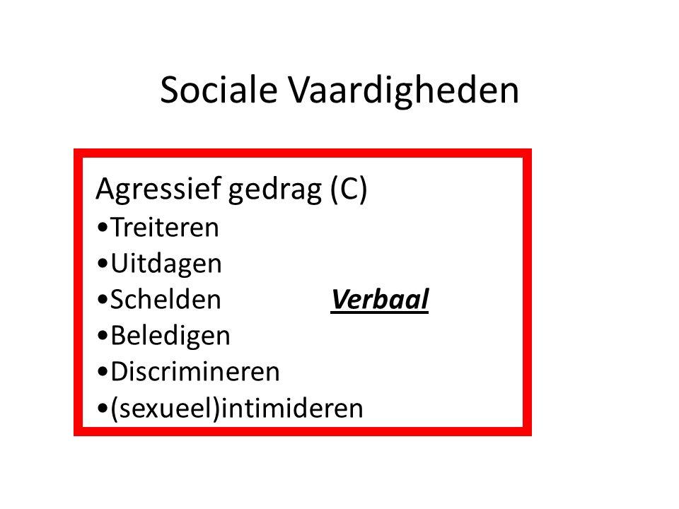 Sociale Vaardigheden Agressief gedrag (C) Treiteren Uitdagen Schelden Verbaal Beledigen Discrimineren (sexueel)intimideren