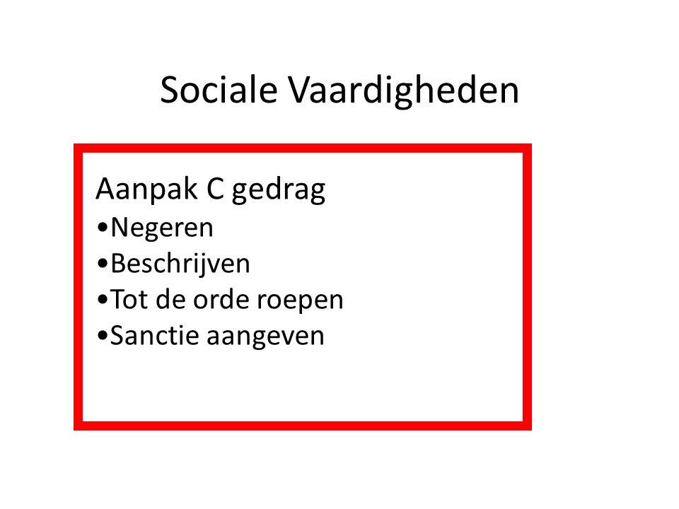 Sociale Vaardigheden Aanpak C gedrag Negeren Beschrijven Tot de orde roepen Sanctie aangeven