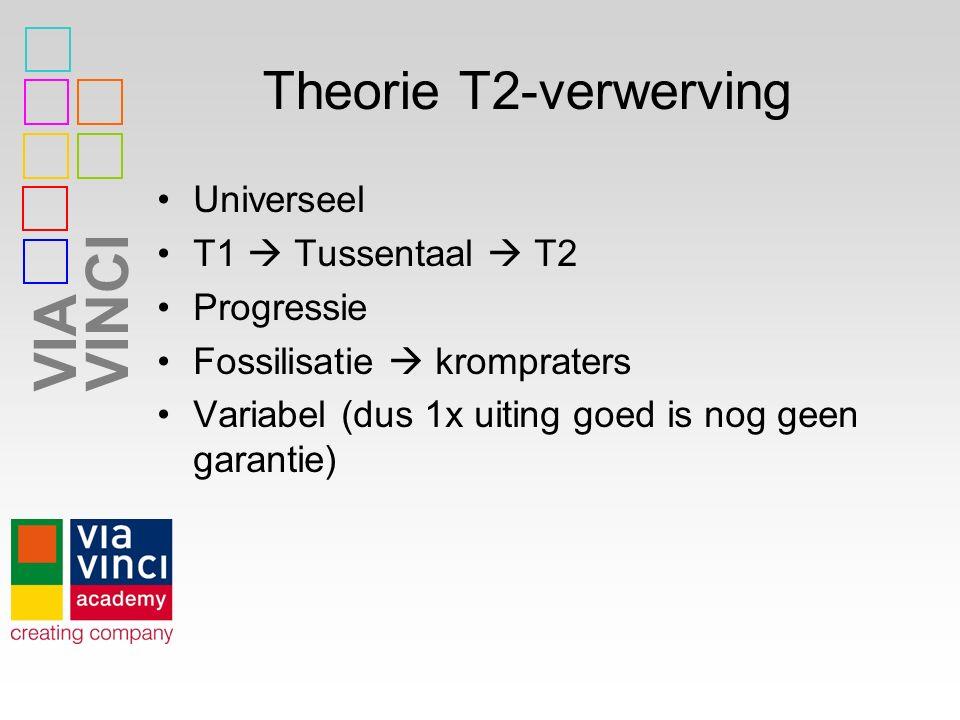 VIAVINCI Theorie T2-verwerving Universeel T1  Tussentaal  T2 Progressie Fossilisatie  krompraters Variabel (dus 1x uiting goed is nog geen garantie)