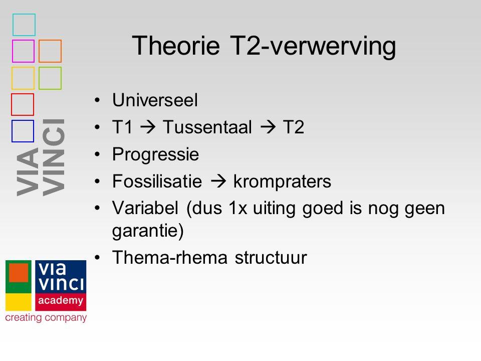 VIAVINCI Theorie T2-verwerving Universeel T1  Tussentaal  T2 Progressie Fossilisatie  krompraters Variabel (dus 1x uiting goed is nog geen garantie) Thema-rhema structuur