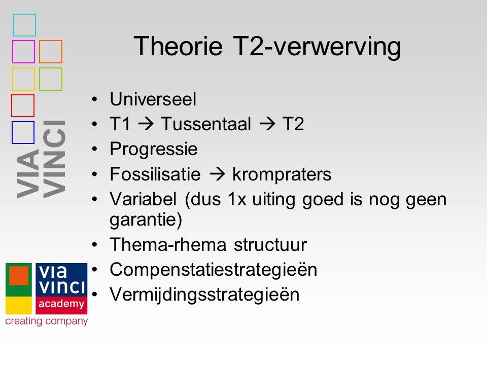 VIAVINCI Theorie T2-verwerving Universeel T1  Tussentaal  T2 Progressie Fossilisatie  krompraters Variabel (dus 1x uiting goed is nog geen garantie) Thema-rhema structuur Compenstatiestrategieën Vermijdingsstrategieën