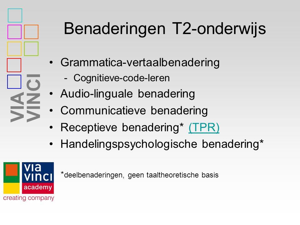VIAVINCI Benaderingen T2-onderwijs Grammatica-vertaalbenadering -Cognitieve-code-leren Audio-linguale benadering Communicatieve benadering Receptieve benadering* (TPR)(TPR) Handelingspsychologische benadering* * deelbenaderingen, geen taaltheoretische basis