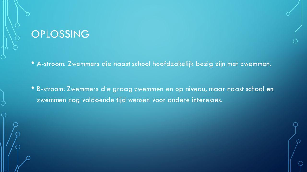 OPLOSSING A-stroom: Zwemmers die naast school hoofdzakelijk bezig zijn met zwemmen. B-stroom: Zwemmers die graag zwemmen en op niveau, maar naast scho