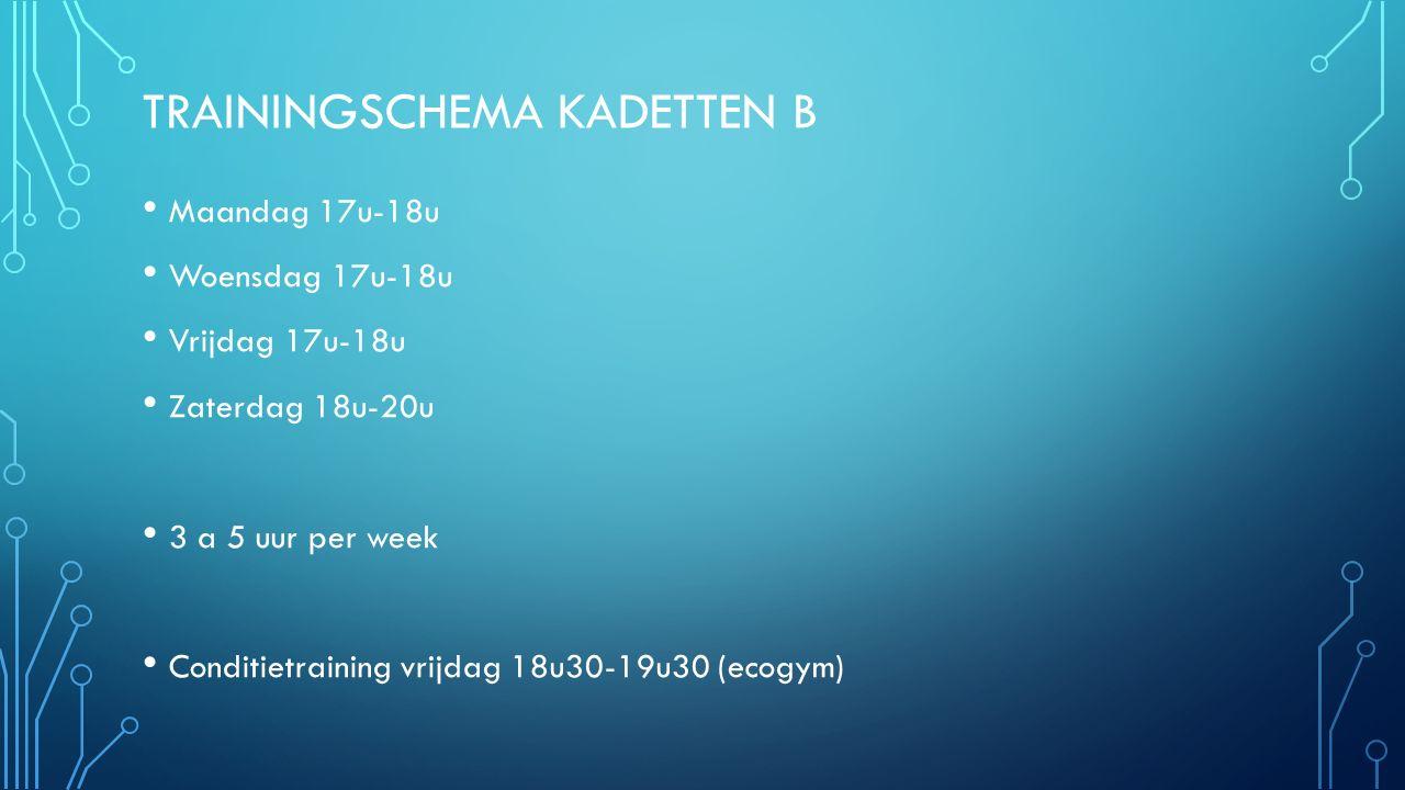 TRAININGSCHEMA KADETTEN B Maandag 17u-18u Woensdag 17u-18u Vrijdag 17u-18u Zaterdag 18u-20u 3 a 5 uur per week Conditietraining vrijdag 18u30-19u30 (ecogym)