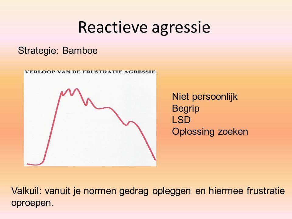 Reactieve agressie Valkuil: vanuit je normen gedrag opleggen en hiermee frustratie oproepen. Niet persoonlijk Begrip LSD Oplossing zoeken Strategie: B