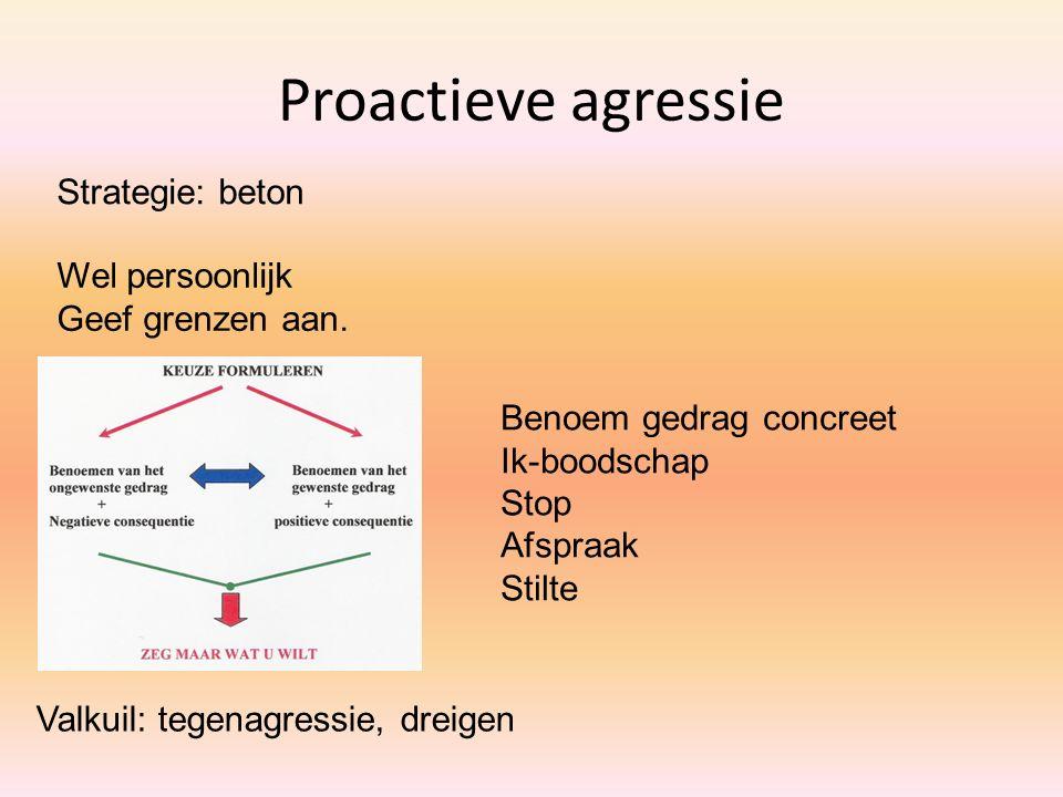 Proactieve agressie Strategie: beton Valkuil: tegenagressie, dreigen Wel persoonlijk Geef grenzen aan. Benoem gedrag concreet Ik-boodschap Stop Afspra