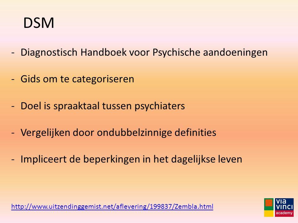 DSM http://www.uitzendinggemist.net/aflevering/199837/Zembla.html -Diagnostisch Handboek voor Psychische aandoeningen -Gids om te categoriseren -Doel