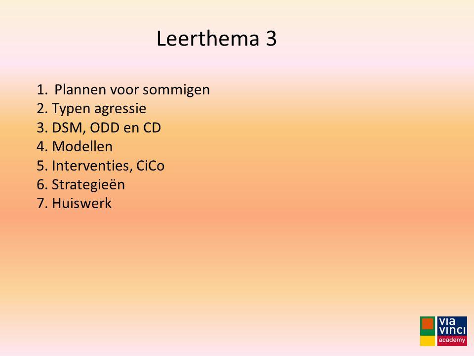 1.Plannen voor sommigen 2. Typen agressie 3. DSM, ODD en CD 4. Modellen 5. Interventies, CiCo 6. Strategieën 7. Huiswerk Leerthema 3
