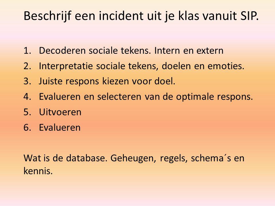 Beschrijf een incident uit je klas vanuit SIP. 1.Decoderen sociale tekens. Intern en extern 2.Interpretatie sociale tekens, doelen en emoties. 3.Juist