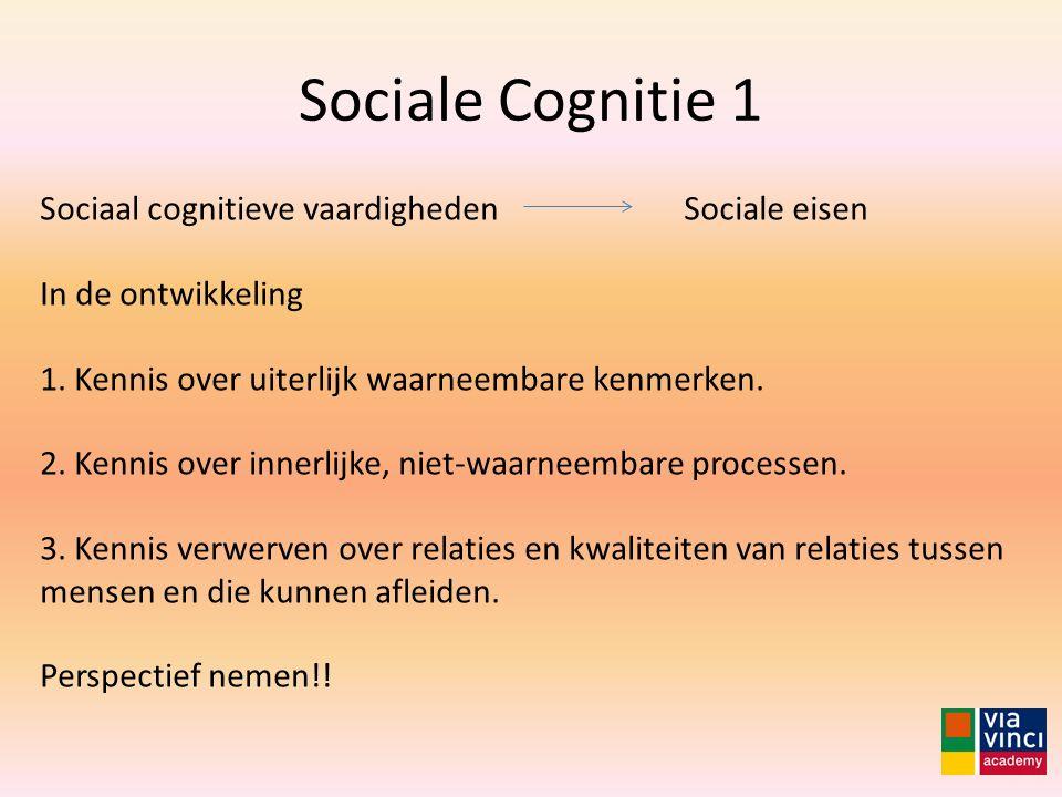 Sociale Cognitie 1 Sociaal cognitieve vaardigheden In de ontwikkeling 1. Kennis over uiterlijk waarneembare kenmerken. 2. Kennis over innerlijke, niet