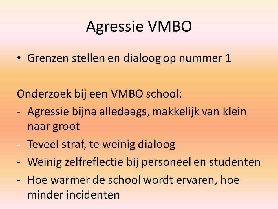 Agressie VMBO Grenzen stellen en dialoog op nummer 1 Onderzoek bij een VMBO school: -Agressie bijna alledaags, makkelijk van klein naar groot -Teveel