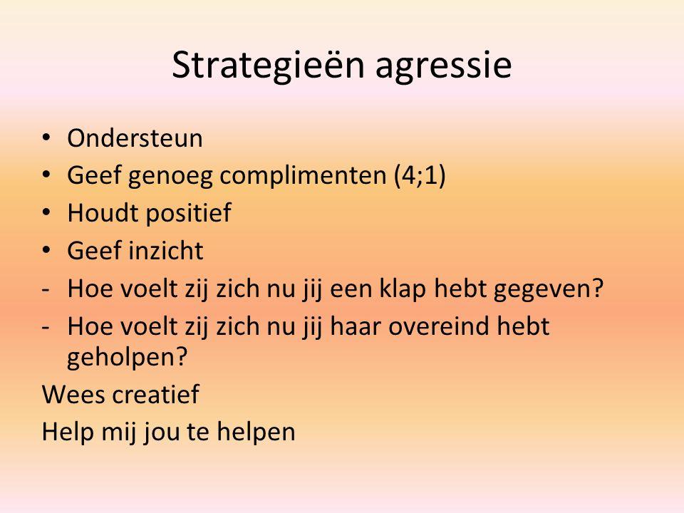 Strategieën agressie Ondersteun Geef genoeg complimenten (4;1) Houdt positief Geef inzicht -Hoe voelt zij zich nu jij een klap hebt gegeven? -Hoe voel