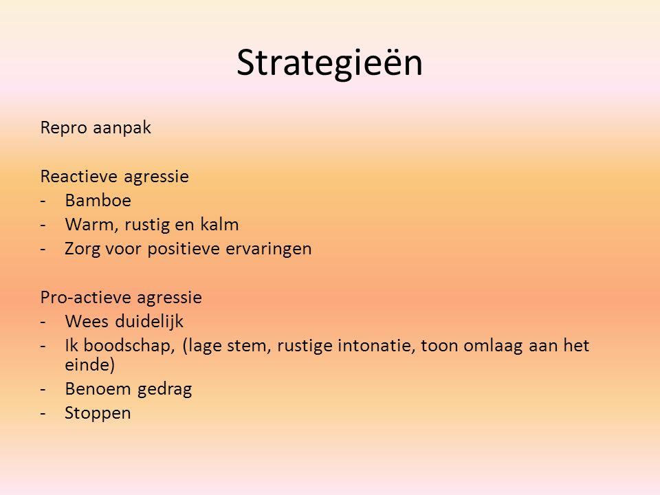 Strategieën Repro aanpak Reactieve agressie -Bamboe -Warm, rustig en kalm -Zorg voor positieve ervaringen Pro-actieve agressie -Wees duidelijk -Ik boo