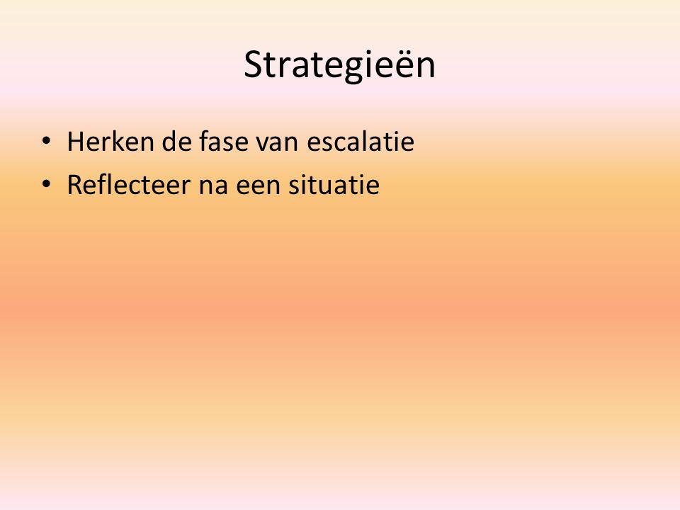 Strategieën Herken de fase van escalatie Reflecteer na een situatie