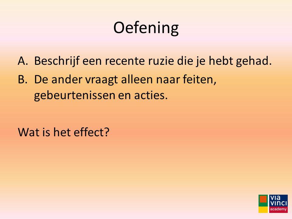 Oefening A.Beschrijf een recente ruzie die je hebt gehad. B.De ander vraagt alleen naar feiten, gebeurtenissen en acties. Wat is het effect?