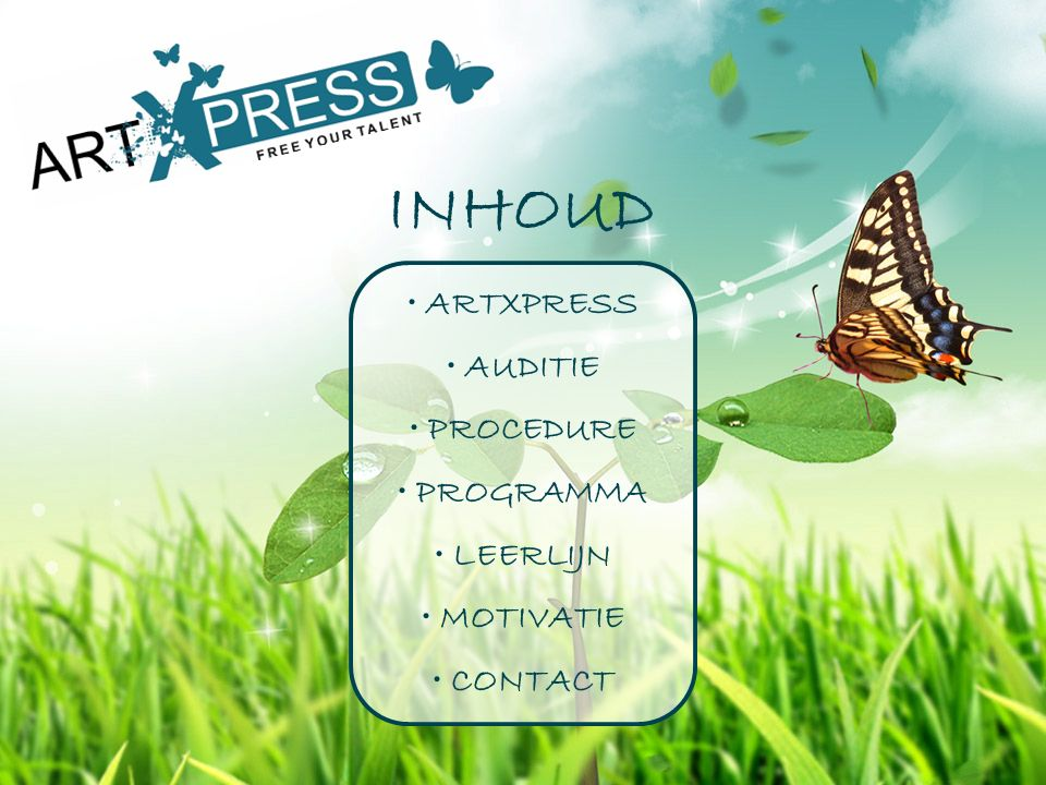 INHOUD ARTXPRESS AUDITIE PROCEDURE PROGRAMMA LEERLIJN MOTIVATIE CONTACT