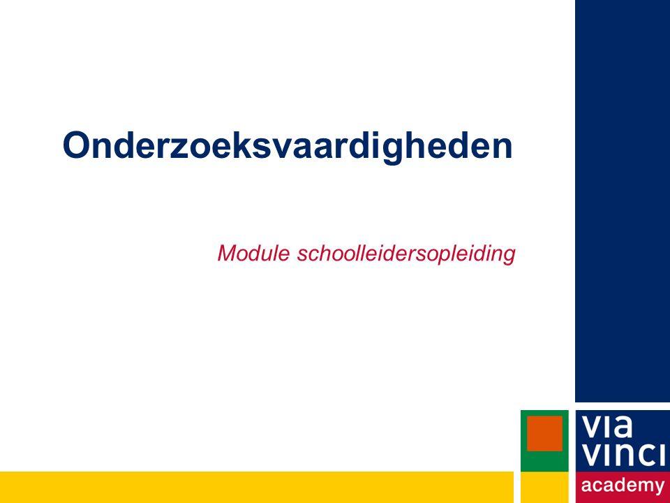 Onderzoeksvaardigheden Module schoolleidersopleiding