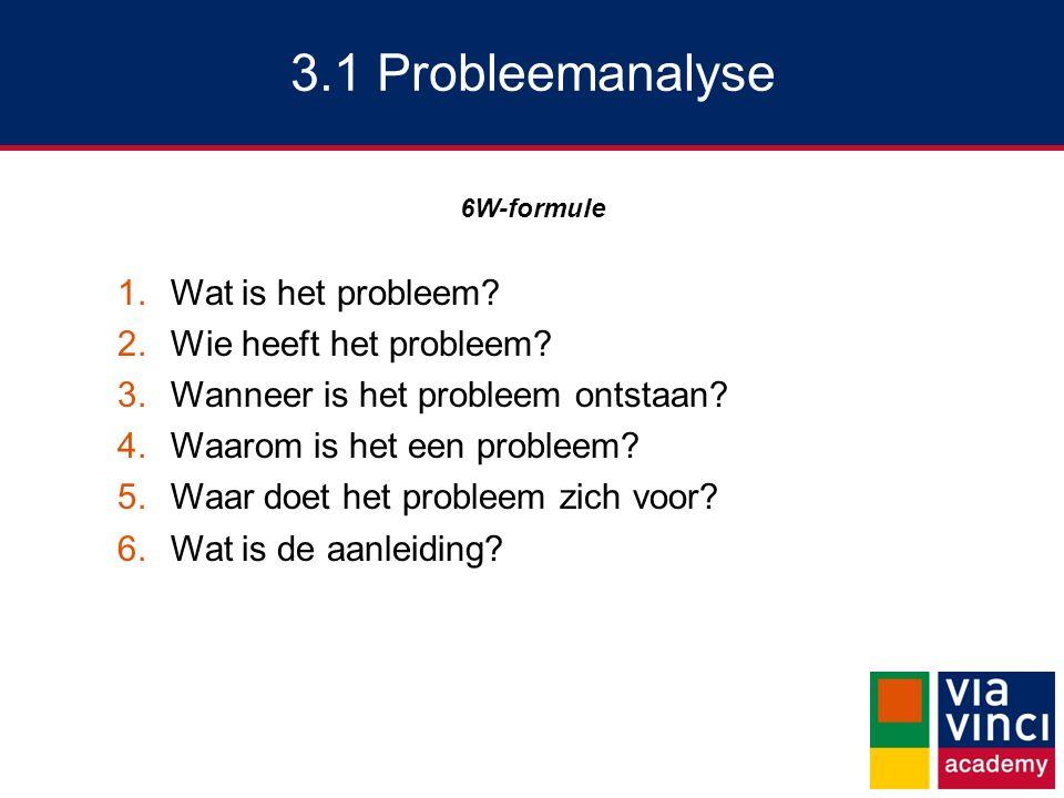 3.1 Probleemanalyse 6W-formule 1.Wat is het probleem? 2.Wie heeft het probleem? 3.Wanneer is het probleem ontstaan? 4.Waarom is het een probleem? 5.Wa