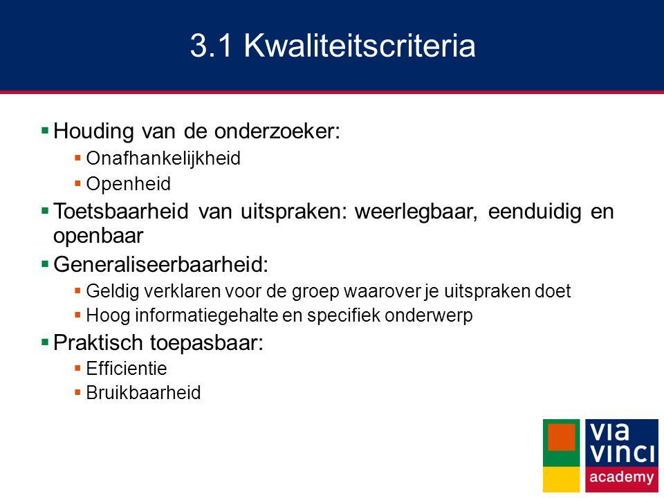 3.1 Kwaliteitscriteria  Houding van de onderzoeker:  Onafhankelijkheid  Openheid  Toetsbaarheid van uitspraken: weerlegbaar, eenduidig en openbaar