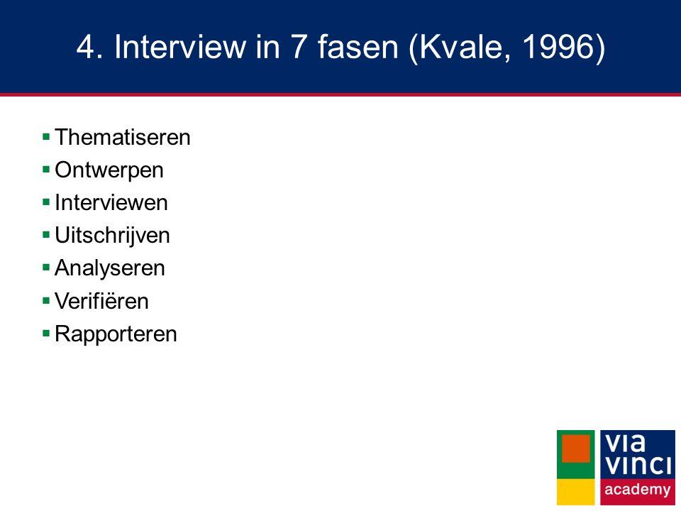 4. Interview in 7 fasen (Kvale, 1996)  Thematiseren  Ontwerpen  Interviewen  Uitschrijven  Analyseren  Verifiëren  Rapporteren