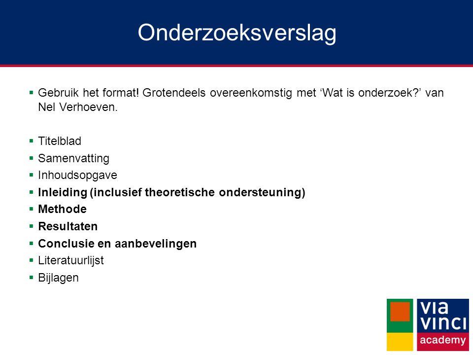 Onderzoeksverslag  Gebruik het format! Grotendeels overeenkomstig met 'Wat is onderzoek?' van Nel Verhoeven.  Titelblad  Samenvatting  Inhoudsopga