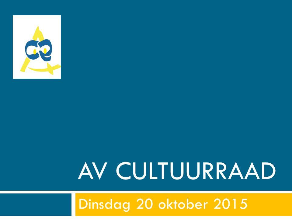 AV CULTUURRAAD Dinsdag 20 oktober 2015
