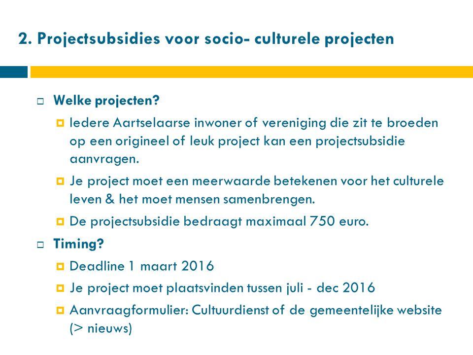 2. Projectsubsidies voor socio- culturele projecten  Welke projecten.